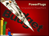 PowerPoint Template - text and scissors concept of Budget cut close up