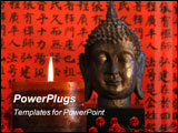 PowerPoint Template - Asian candle with flowers and red oriental background