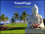 PowerPoint Template - a buddha statue next to the ocean and a golf course on the big island of hawaii.