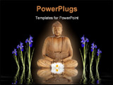 PowerPoint Template - en abstract of a buddha with glowing aura a white lotus lily and blue iris flowers with reflection