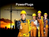 PowerPoint Template - Young builder people in yellow uniform. Isolated over white background