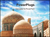 PowerPoint Template - view of the beautiful oriental decor in the cupola of the mosque in Bukhara