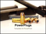 PowerPoint Template - 40 caliber bullet with a disassembled handgun in the background.