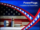 Two 9mm bullets and a shotgun shell in front of an American flag