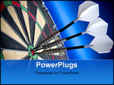PowerPoint Template - Three darts sitting in the bulls eye