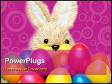PowerPoint Template - Easter bunny has basket full of colourful Easter eggs. Isolated on white background.