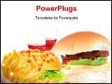 PowerPoint Template - hamburger with cheese tomatoes and lettuce (fat-food)
