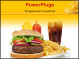 PowerPoint Template - Big juicy hamburger served with crisp french fries and ice-cold soda