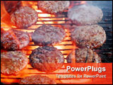 PowerPoint Template - Flame broiled burgers cooking on grill over red hot smoky coals