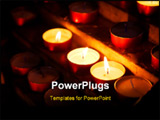 PowerPoint Template - Burning candles in a church. Light candles.