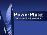PowerPoint Template - Brilliant blue collage of city scrapers