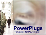PowerPoint Template - Suited businessman walks in opulent foyer