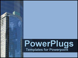 PowerPoint Template - Business couple on skyscraper in corporate blue