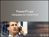 PowerPoint Template - Businessman talks on mobile phone in CBD