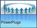 PowerPoint Template - Blue people holding hands in circle.