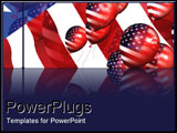 PowerPoint Template - Balloons over American flag.