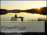 PowerPoint Template - Man sitting on dock over lake.