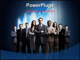 PowerPoint Template - business team formed of young businessmen standing over a dark background
