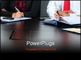 PowerPoint Template - Business people working in an office. Cropped image on hands.