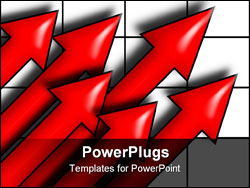 PowerPoint Template - Six red arrows pointing upward on a grid