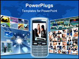 PowerPoint Template - image with silver cellphone on blue background