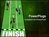 PowerPoint Template - Businessman racing his rival in a running competition as a symbol of business competition