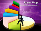 PowerPoint Template - A business man climbs up a pie chart as spiral stairs of growth success.