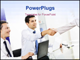 PowerPoint Template - Businessman and woman shaking hands in office with colleague watching.