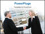 PowerPoint Template - A handsome business team shaking hands outside office building