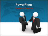 PowerPoint Template - Two business people holding suitcases shake hands