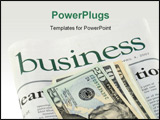 PowerPoint Template - Business section of a newspaper and dollars
