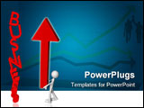 PowerPoint Template - 3d concept of business on the rise with man who claims an arrow