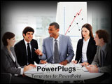 PowerPoint Template - Smiling business people discussing a budget plan in a meeting