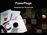PowerPoint Template - Business objects of colored graph a cut of caffe files and a mobile