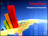 PowerPoint Template - 3d rendering of the growth chart on symbolic earth image