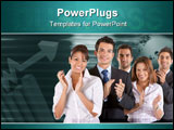 PowerPoint Template - Happy young business team applauding and smiling