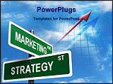 PowerPoint Template - Marketing Strategy signs on clear blue sky