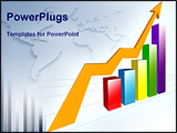 PowerPoint Template - A multi-color bar chart with yellow arrow sign