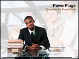 PowerPoint Template - Business man sits in professional atmosphere.