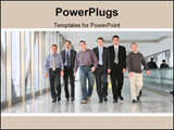PowerPoint Template - Walking business team men in business the center.