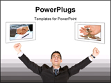 PowerPoint Template - Successful business man with arms up over a white background.