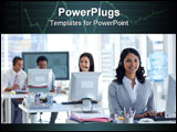 PowerPoint Template - Ethnic businesswoman with a headset on in a call center