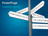 PowerPoint Template - Business goals and direction as showed in a street direction sign. Concept for Business Management and Planning Directories.
