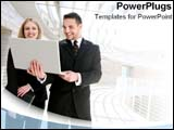 PowerPoint Template - Two coworkers work in a positive atmosphere.