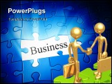 PowerPoint Template - An image of a blue jigsaw puzzle with the word business