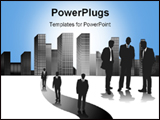 PowerPoint Template - A Group Of Drawn Businessmen in sillhouette in contrast against a city scape