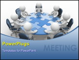 PowerPoint Template - human character person at a round table and puzzle pieces ( jigsaw). 3d render illustration