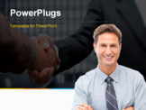 PowerPoint Template - Proud businessman posing in front of his team