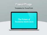 PowerPoint Template - Modern notebook computer with future technology media symbols