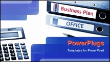 PowerPoint Template - Group of folders and office tools on desk